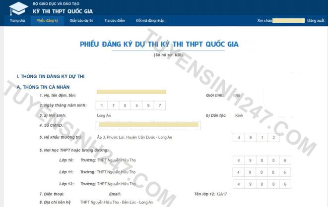 Huong dan tra cuu so bao danh, phong thi THPT Quoc gia 2016