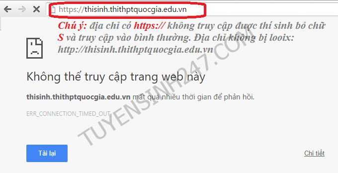 Vi sao khong truy cap duoc trang Thisinh.thithptquocgia.edu.vn?