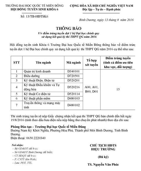 Diem chuan dot 1 vao truong Dai hoc Quoc te Mien Dong 2016