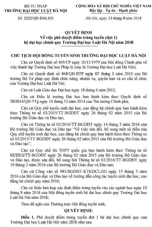 Diem chuan vao Dai hoc Luat Ha Noi 2016