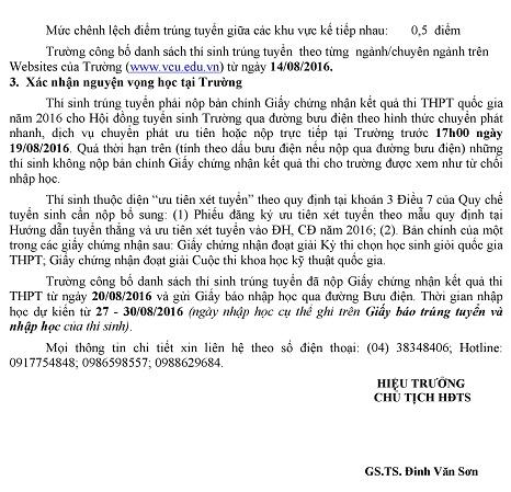 Diem chuan truong Dai hoc Thuong Mai 2016