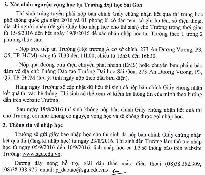 Dai hoc Sai Gon cong bo diem chuan trung tuyen dot 1 nam 2016