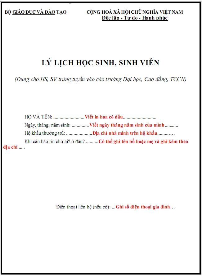 Huong dan dien so yeu ly lich hoc sinh, sinh vien