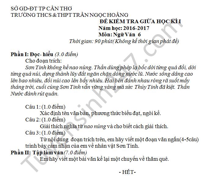 Dè thi giũa học kì 1 mon Van 6 nam 2016 THCS Tràn Ngoc Hoang