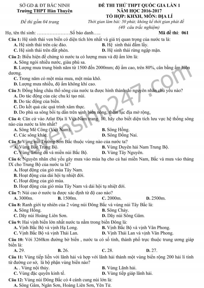 De thi thu THPTQG mon Dịa - THPT Han Thuyen làn 1 2017