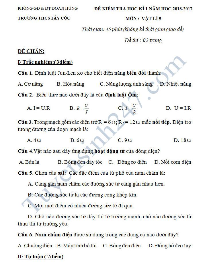 De thi hoc ki 1 mon Li 9 - THCS Tay Coc nam 2016-2017