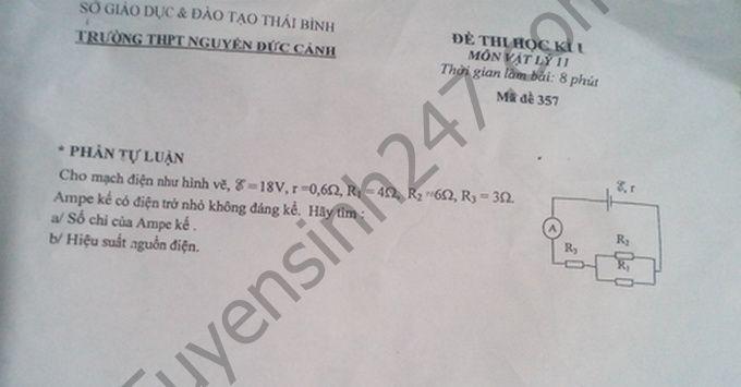 De thi hoc ki 1 lop 11 mon Ly  - THPT Nguyen Duc Canh 2016 - 2017