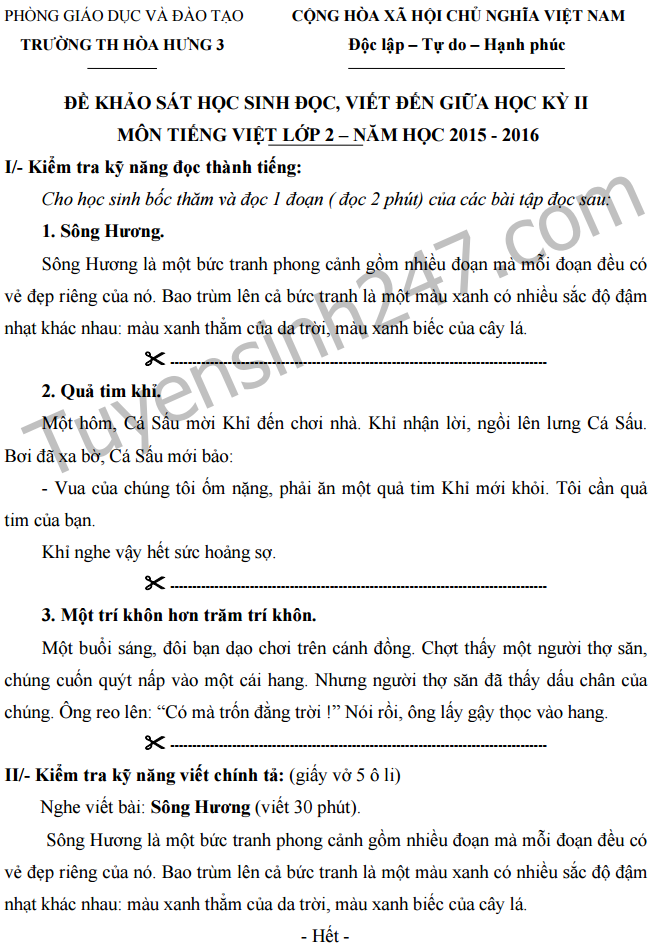De thi giua ki 2 lop 2 mon Tieng Viet - Tieu hoc Hoa Hung 3 nam 2016