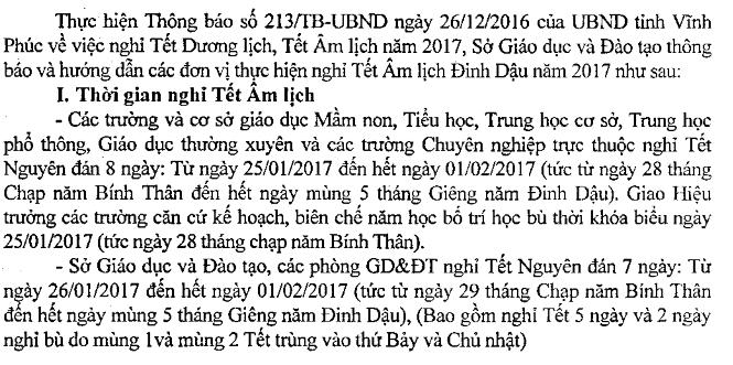 Hoc sinh Vinh Phuc nghi tet am lich 8 ngay