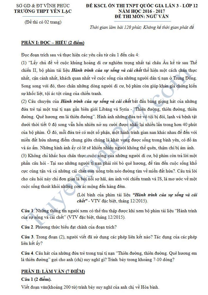 De thi thu THPT Quoc Gia mon Van - THPT Yen Lac nam 2017 lan 3 co dap an