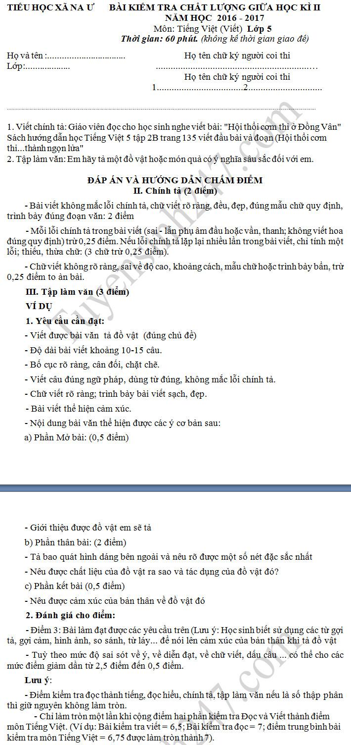 De thi giua hoc ki 2 lop 5 mon Tieng Viet - Tieu hoc xa Na U 2017