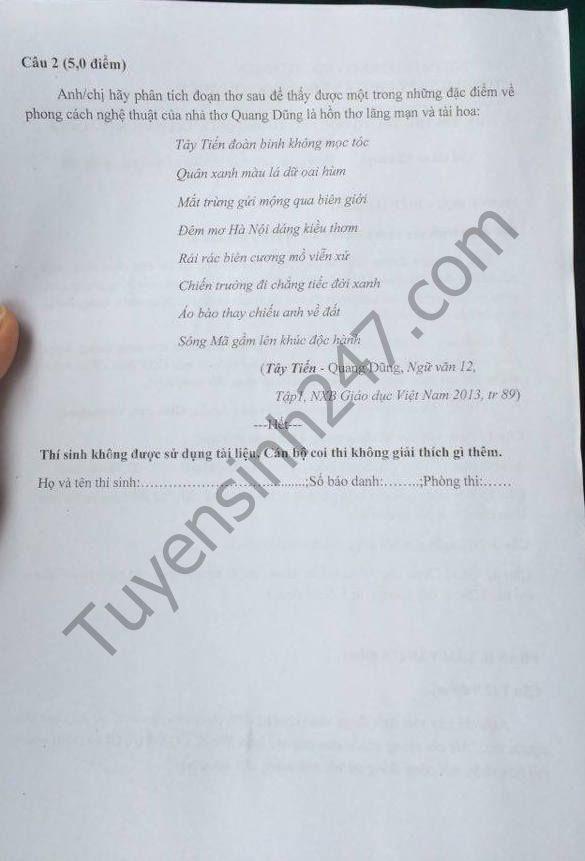 De thi thu THPT Quoc gia 2017 mon Van - Chuyen KHTN lan 5