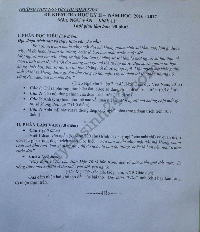 De thi hoc ki 2 lop 11 mon Van 2017 – THPT Nguyen Thi Minh Khai