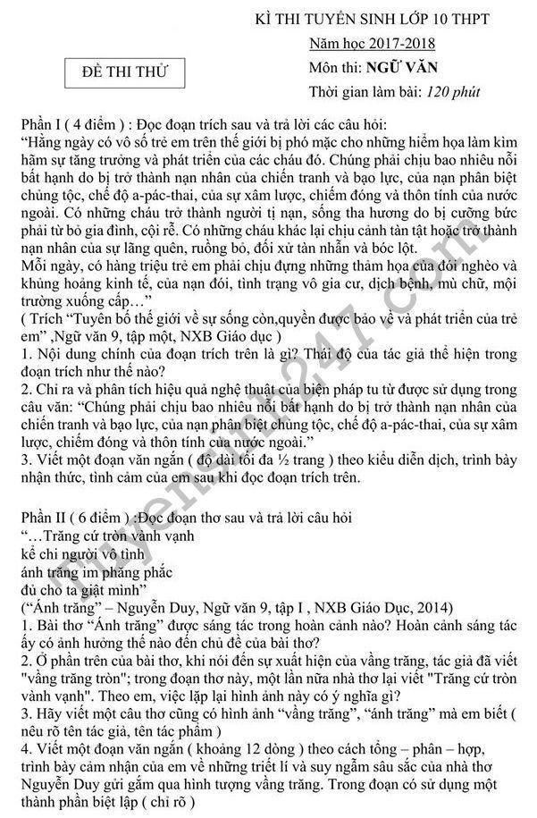 De thi thu vao lop 10 mon Van 2017 - Dang de Ha Noi