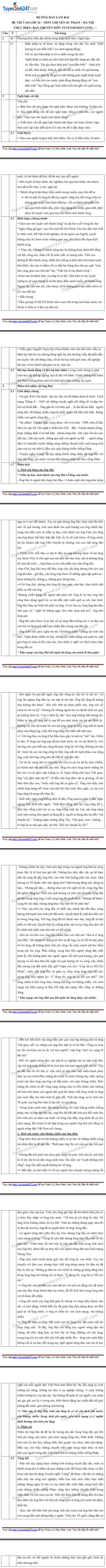 Dap an de thi vao lop 10 mon Van THPT Chuyen Su pham Ha Noi 2017
