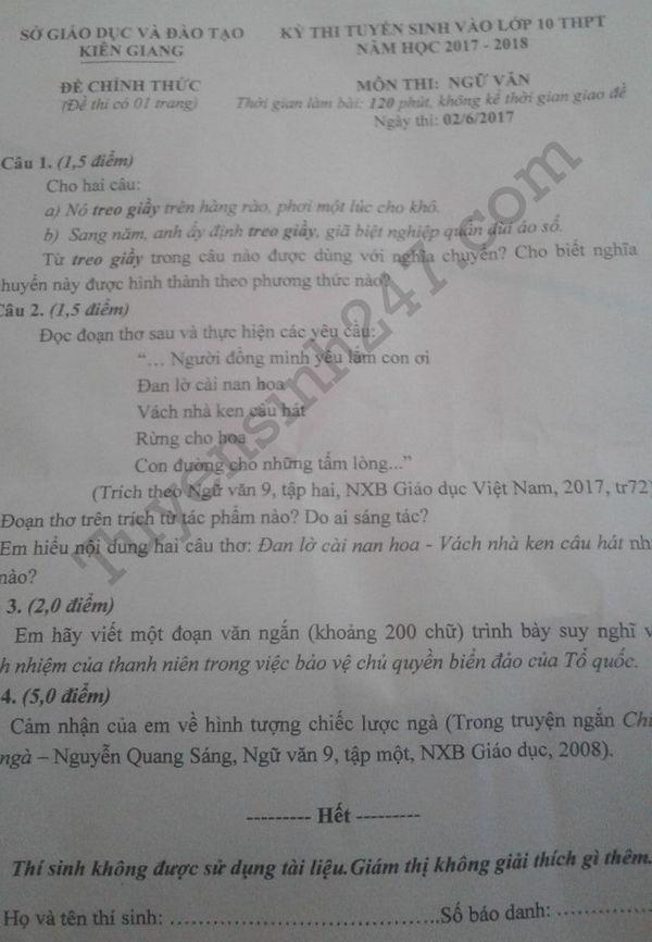 De thi vao 10 mon Van - Kien Giang 2017