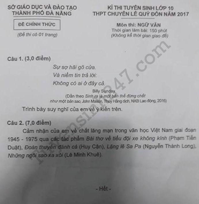 De thi vao lop 10 mon Van chuyen- Da Nang 2017