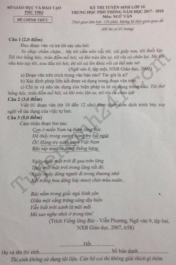 De thi vao lop 10 mon Van tinh Phu Tho nam 2017