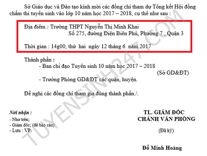 May gio cong bo diem thi vao lop 10 TPHCM 2017?