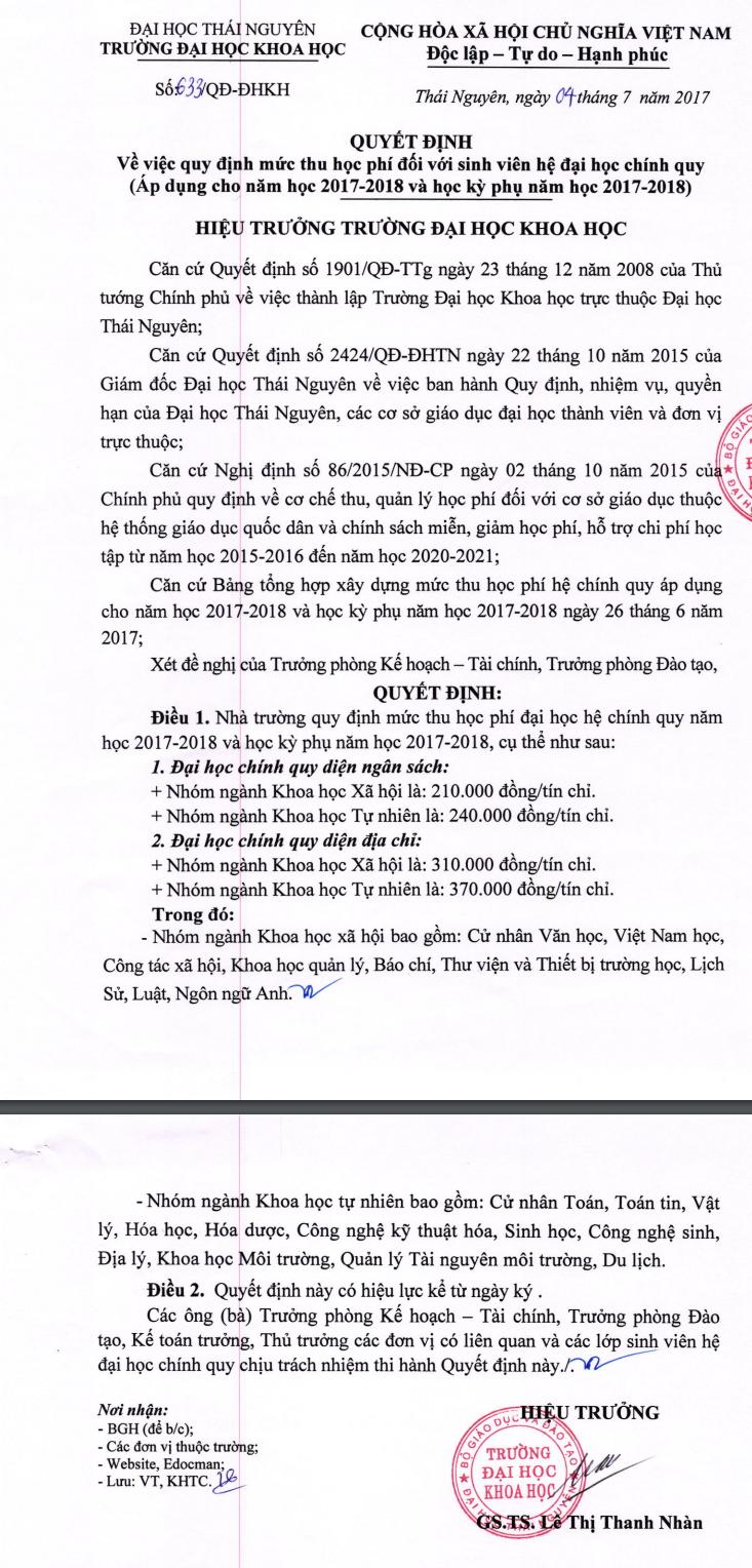 Dai hoc Khoa hoc Thai Nguyen hoc thong bao muc hoc phi nam 2018