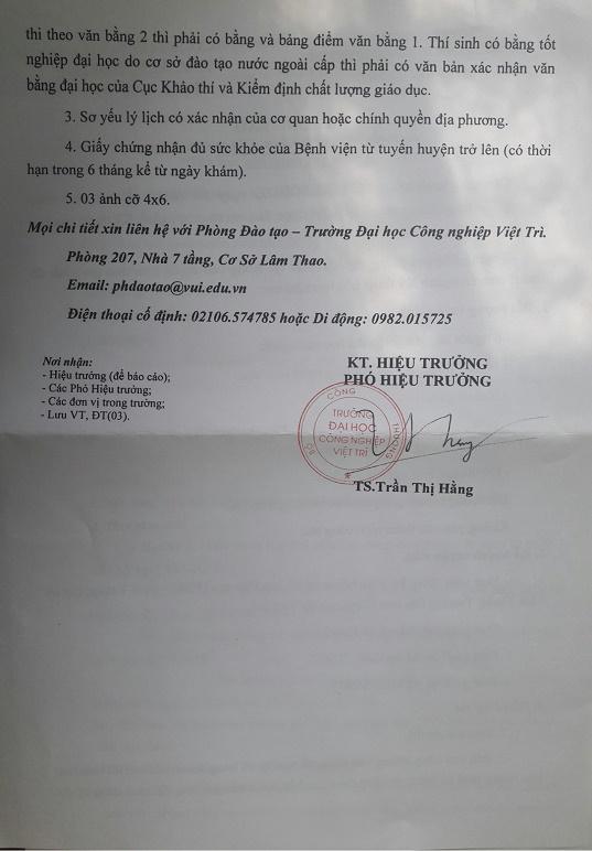 Dai hoc cong nghiep Viet Tri thong bao tuyen sinh thac si 2017