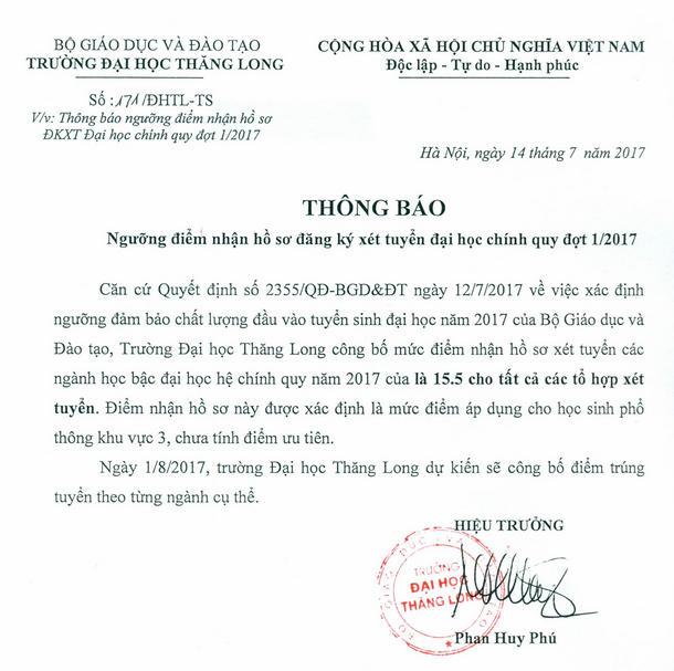 Diem xet tuyen Truong DH Thang Long nam 2017