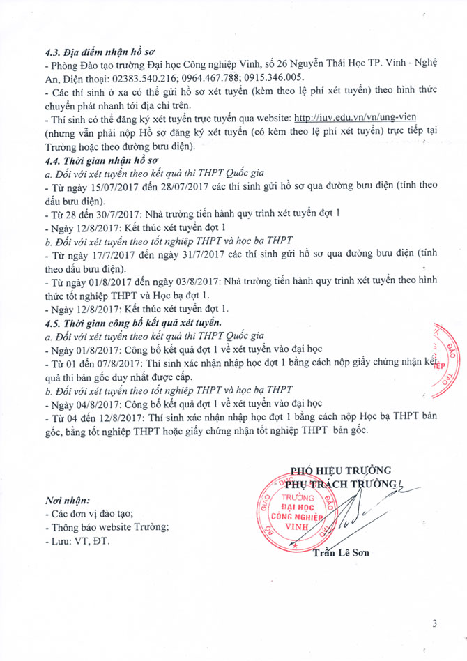 Diem xet tuyen Truong Dai hoc Cong nghiep Vinh nam 2017