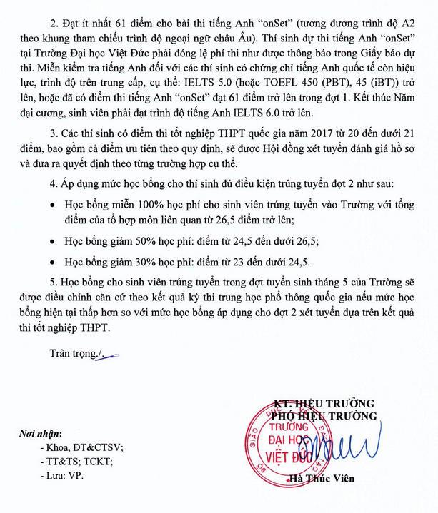 Dieu kien xet tuyen dot 2 Truong DH Viet Duc nam 2017
