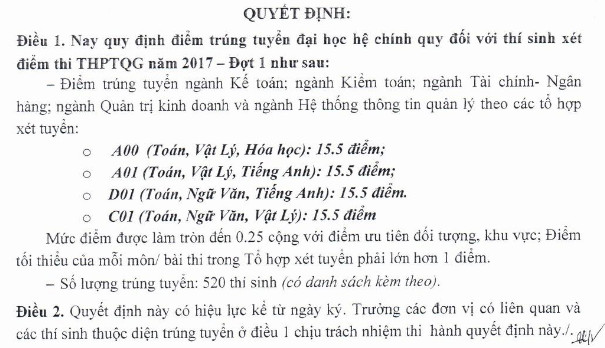 Diem trung tuyen Dai hoc Tai chinh - Quan tri kinh doanh nam 2017