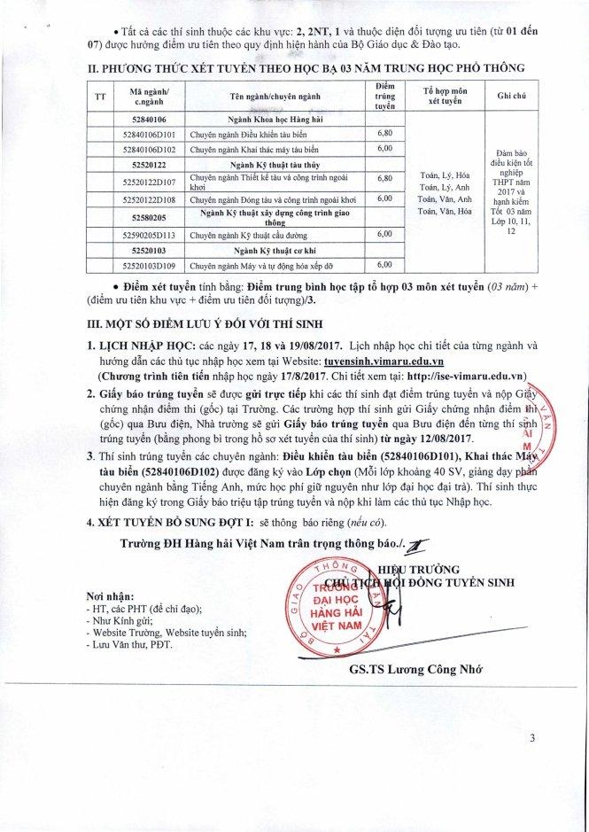 Diem chuan DH Hang hai nam 2017