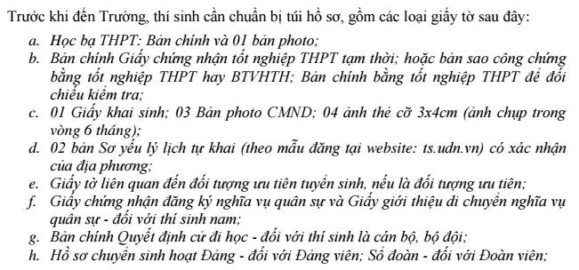 Ho so nhap hoc DH Bach Khoa - Dai hoc Da Nang 2017