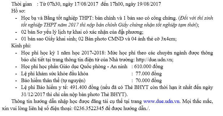 Thu tuc nhap hoc truong Dai hoc Kinh te - DH Da Nang 2017