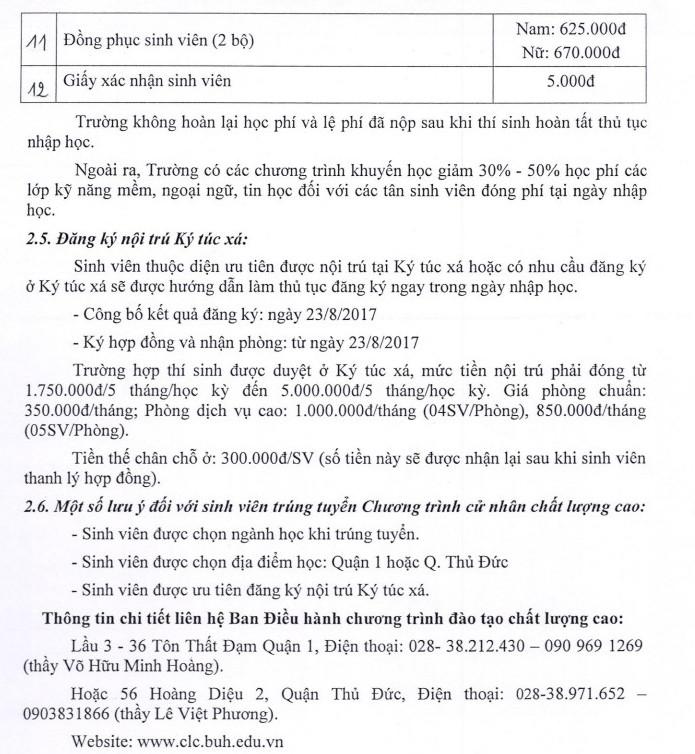 Ho so nhap hoc Dai hoc Ngan Hang TP.HCM nam 2017