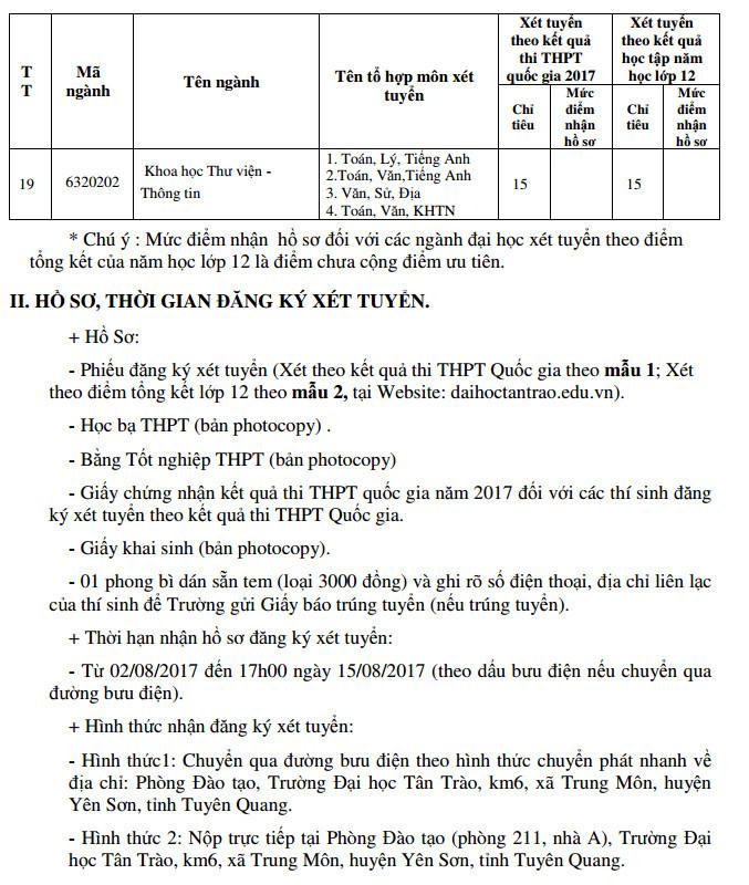Truong Dai hoc Tan Trao thong bao xet NVBS dot 1 nam 2017