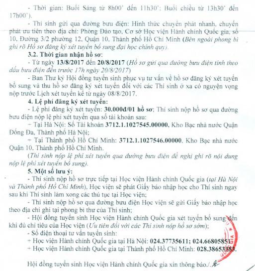Thong bao xet NVBS dot 1 cua Hoc Vien Hanh Chinh nam 2017