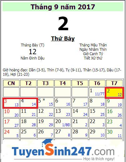 Quoc khanh 2/9/2017 vao thu may va duoc nghi may ngay?
