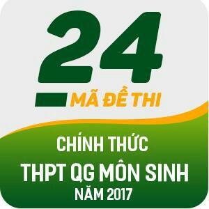 24 MÃ ĐỀ THI CHÍNH THỨC THPT QG MÔN SINH HỌC NĂM 2017 (CÓ LỜI GIẢI CHI TIẾT)