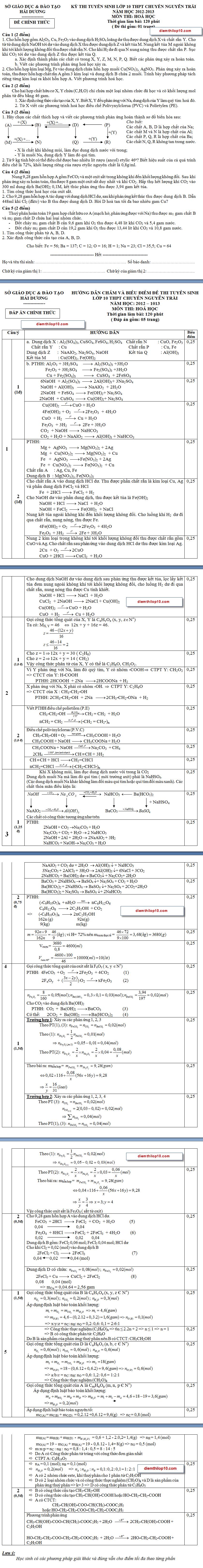 Điểm thi lớp 10 năm 2012 ef6275482a12c8117761c16cda7621b7 46552288.chuyenhoa Đáp án đề thi chuyên hóa vào lớp 10 chuyên Nguyễn Trãi Hải Dương năm 2012