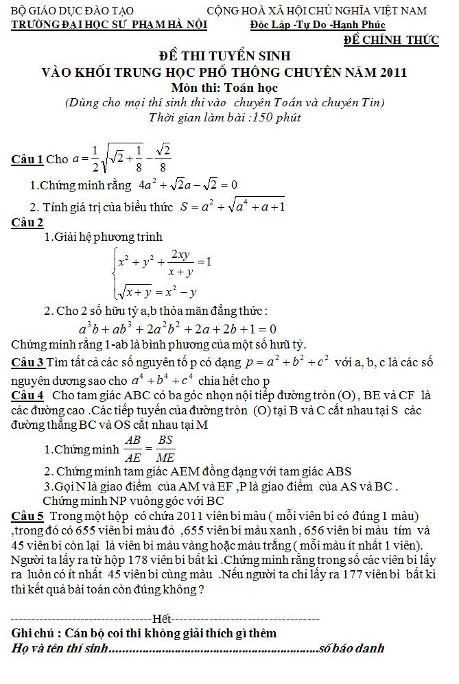 Điểm thi lớp 10 năm 2012 5b64e9ab7feb2ed50901d753a7cdf320 44247038.chuyentoan Đáp án đề thi môn toán lớp 10 chuyên toán ĐH sư phạm HN năm 2012