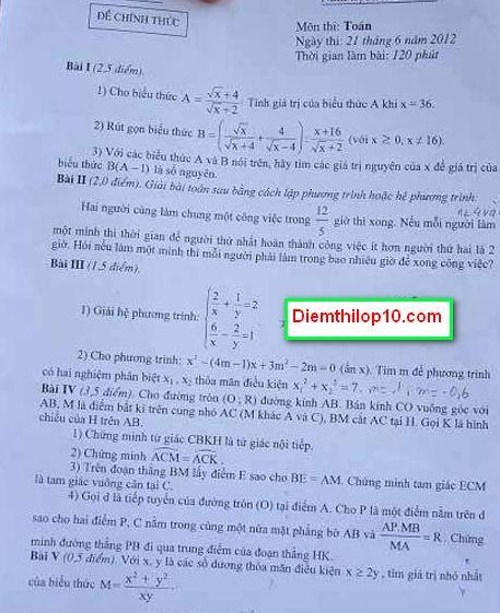 Điểm thi lớp 10 năm 2012 9f063abe84e3281686b8986d76a35d75 46406354.detoan Đáp án đề thi môn toán lớp 10 HÀ NỘI năm 2012