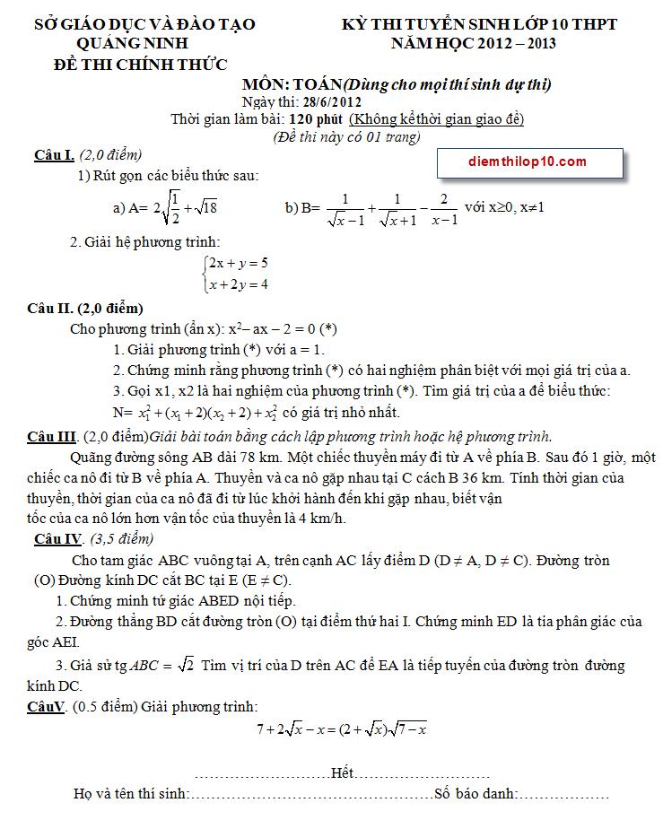 Điểm thi lớp 10 năm 2012 8d32e2f9d41cbcc71c15fb6130e92c50 46678235.quangninh Đáp án đề thi môn toán vào lớp 10 tỉnh Quảng Ninh năm 2012