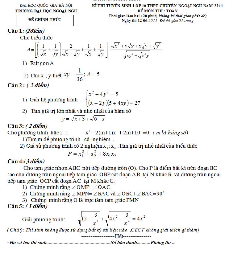 Điểm thi lớp 10 năm 2012 a6fc6abaf62133e94e198f0cffe01989 44248076.chuyenngu Đáp án đề thi môn toán lớp 10 chuyên ngữ ĐHQG Hà Nội năm 2012