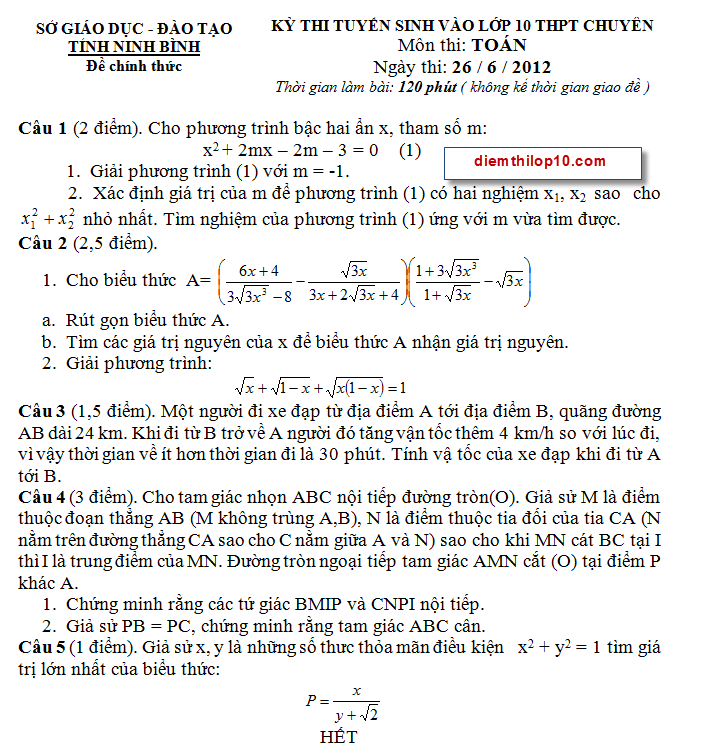 Điểm thi lớp 10 năm 2012 3b3c9f8aafb7174a76213cd82dc0194c 46572692.chuyenninhbinh Đáp án đề thi môn toán vào lớp 10 THPT chuyên Ninh Bình năm 2012