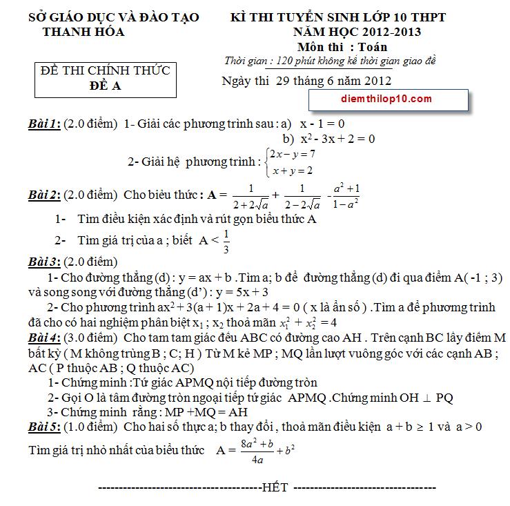 Điểm thi lớp 10 năm 2012 7dfcc5e722f49582b01027d1a9b27328 46677599.thanhhoa Đáp án đề thi môn toán vào lớp 10 tỉnh Thanh Hóa năm 2012