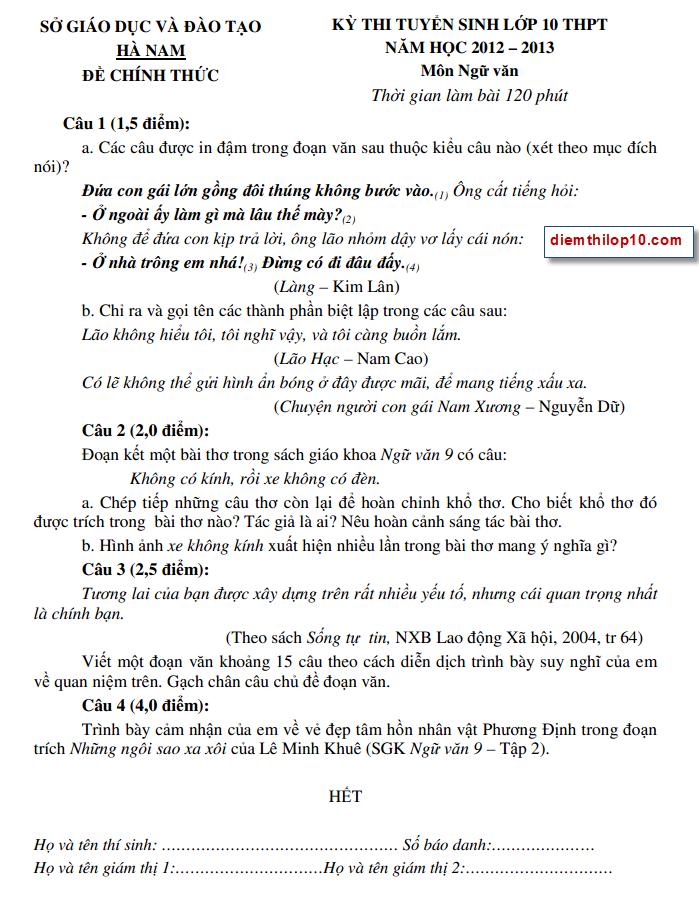 Điểm thi lớp 10 năm 2012 fb6e5f23b9cd5c3ee7f1ebea32ad4b7e 46551377.hanam Đáp án đề thi vào lớp 10 môn văn tỉnh Hà Nam năm 2012
