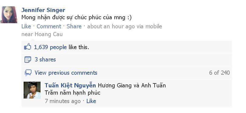 Bức hình chụp lại thiệp ăn hỏi và status mới cập nhật trên FB của Hương Giang Idol