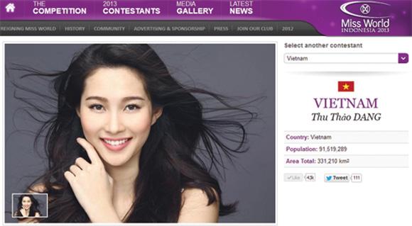 Hoa hậu Thu Thảo sẽ đại diện VN tham dự Miss World 2013