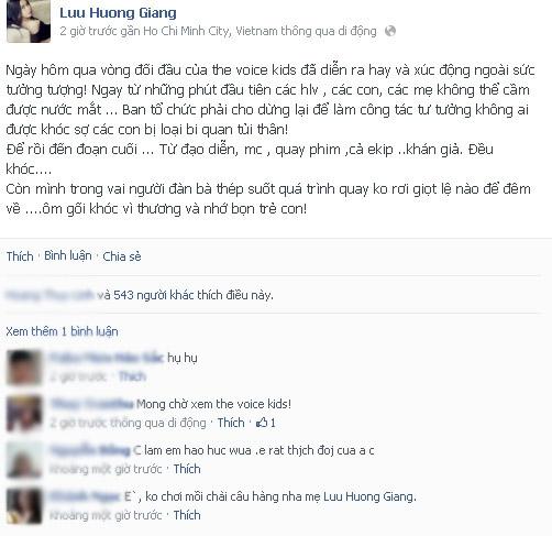 Lưu Hương Giang hé lộ về vòng Đối đầu đẫm nước mắt của Giọng hát Việt nhí