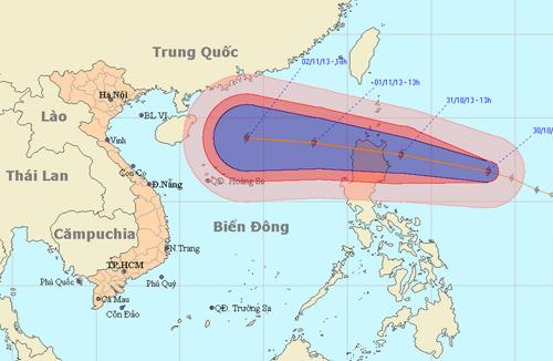 Đường đi của bão 12 (Ảnh: NCHMF)