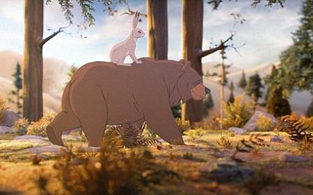Mùa thu, gấu và thỏ cùng đi chơi, ngắm nghía cảnh vật đẹp đẽ.
